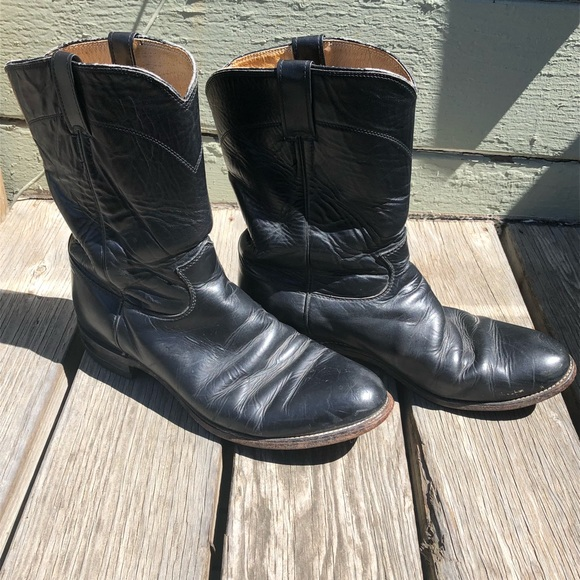 02d45b73375 Justin Black Leather Round Toe Western Ankle Boots